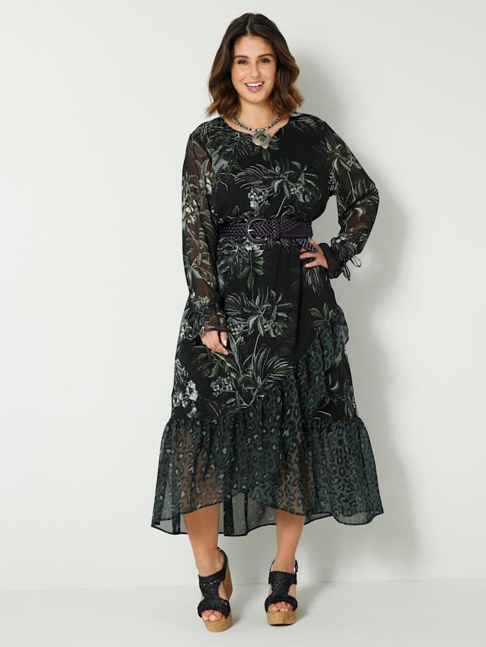 Sara Lindholm Maxi-jurk met volants met animalprint, Zwart/Groen