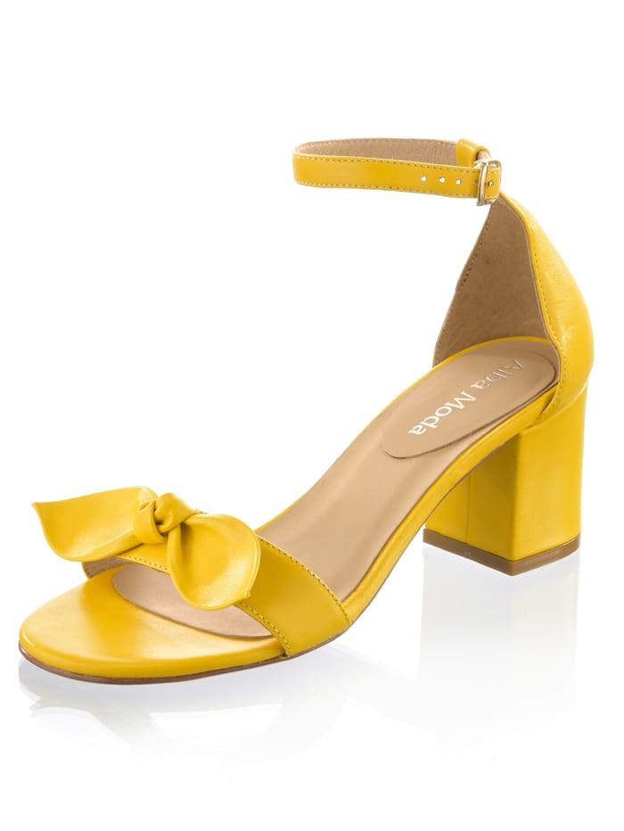 Alba Moda Sandaaltje van geitennappa, Geel