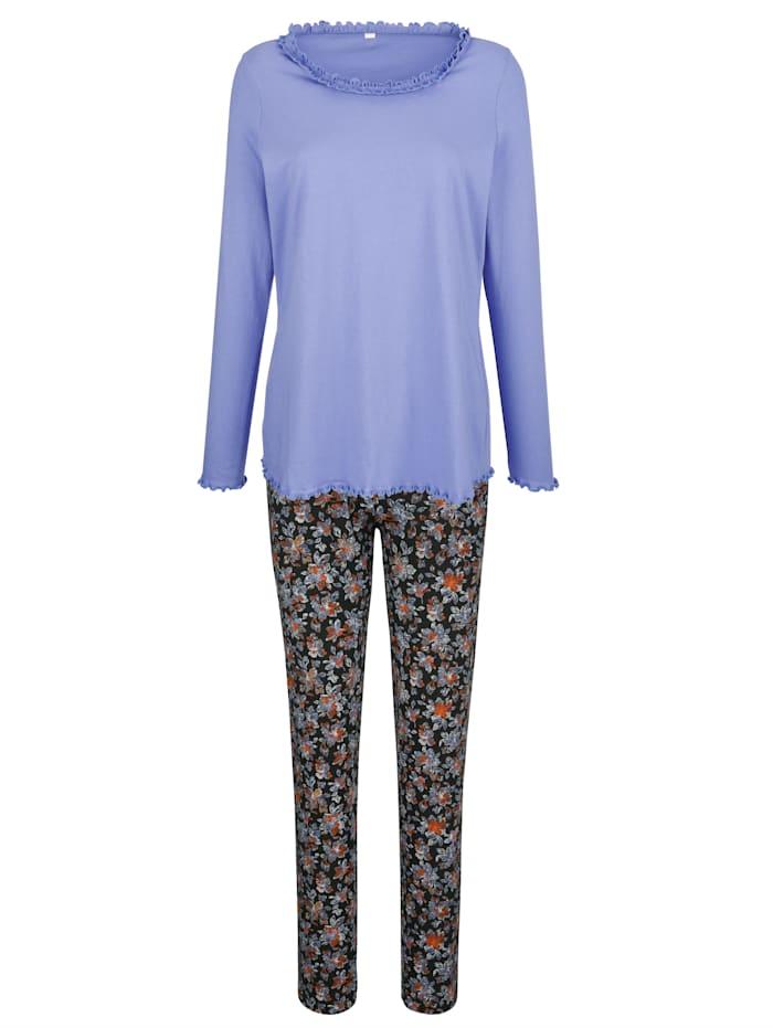 Blue Moon Pyjamas med söta kruskanter, Lavendel/Svart/Orange