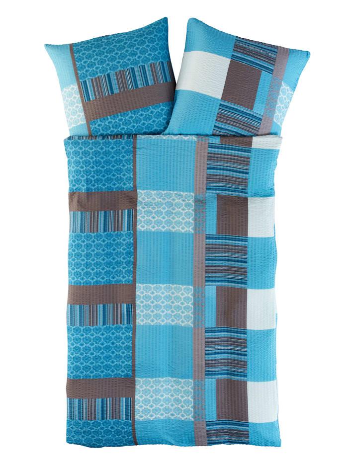 Kinzler Mikrovlákno-krepová posteľná bielizeň Irma, modrá