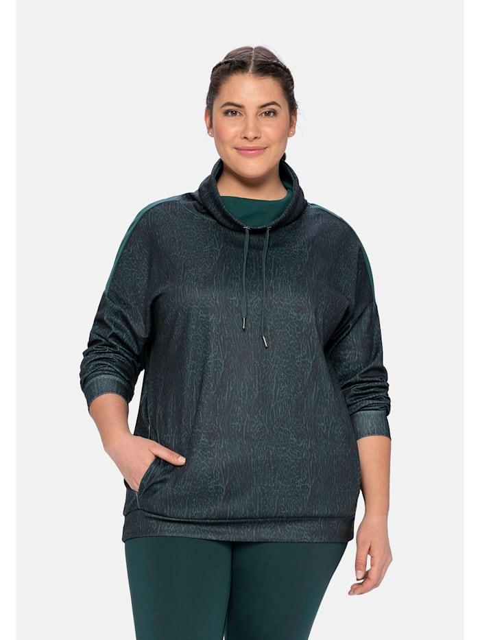 Sheego Funktionssweatshirt aus Funktionsmaterial, mit Animaldruck, tiefgrün gemustert