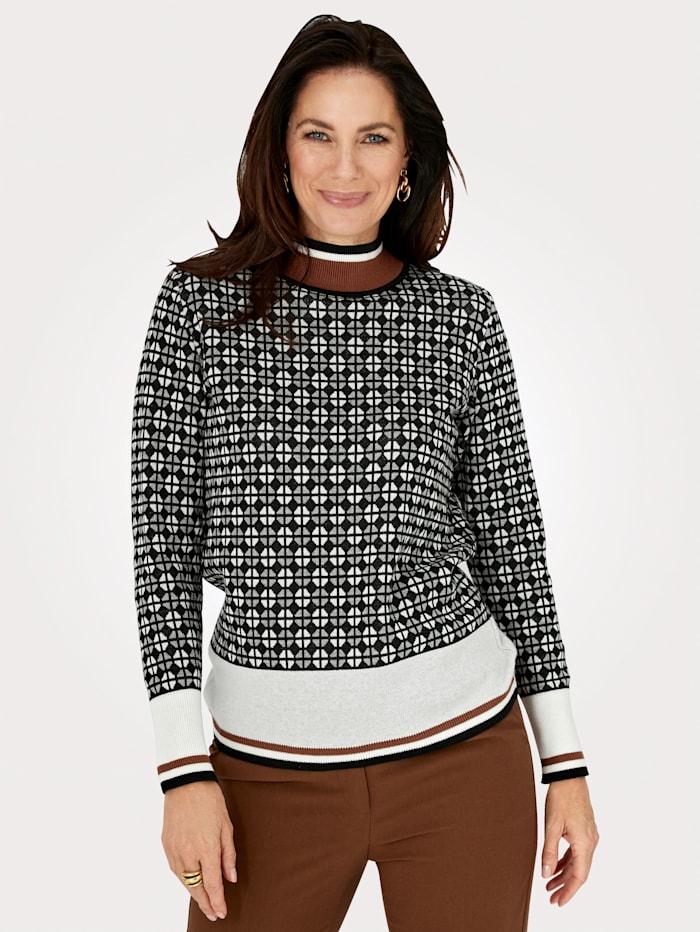 MONA Pullover mit grafischem Jaquard, Schwarz/Ecru/Braun