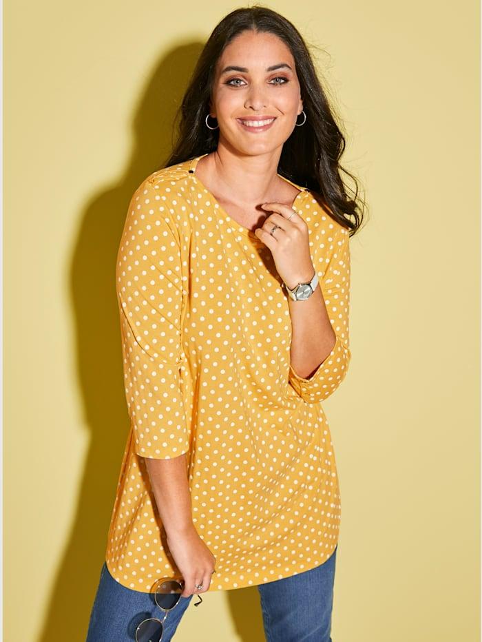 MIAMODA Shirt met vrouwelijke halslijn, Geel/Wit