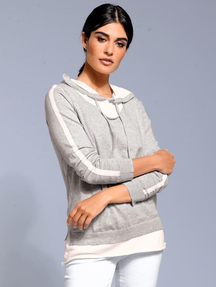 Alba Moda Pullover mit Kapuze, Grau/Weiß