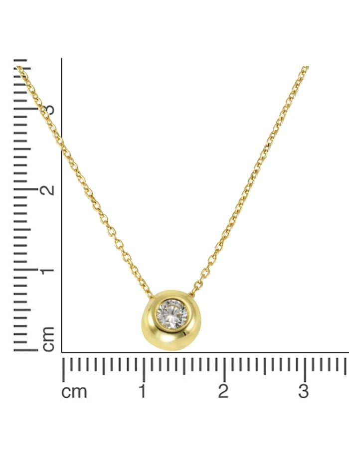 Collier 375/- Gold Zirkonia weiß 42+3cm Glänzend