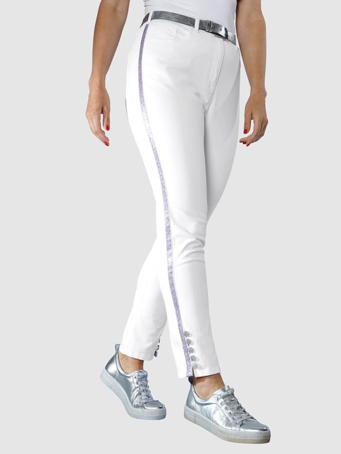 MIAMODA Hose mit Glitzerband seitlich am Bein, Off-white