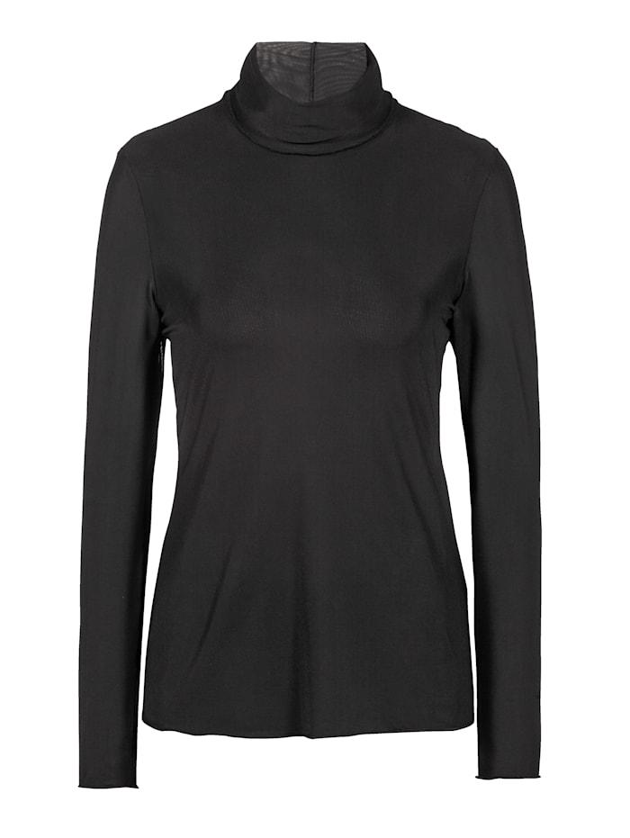 Alba Moda Rollkragenshirt aus transparenter Mesh-Qualität, Schwarz