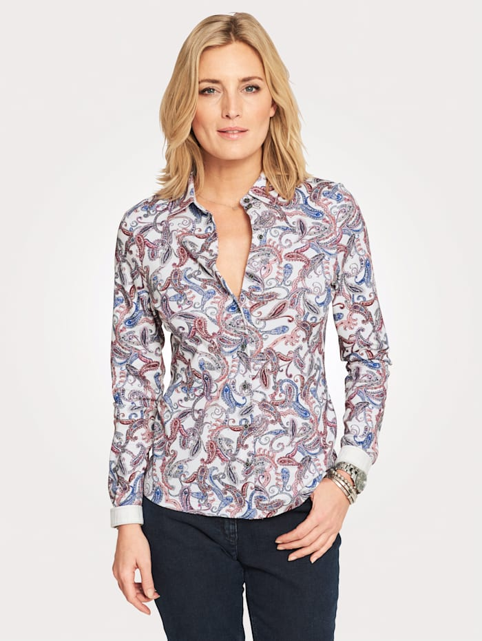 Jerseybluse mit Paisley-Muster