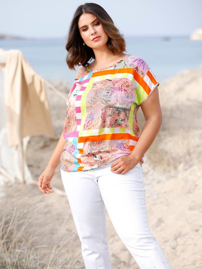 Sara Lindholm Blouse met patchworkdessin, Multicolor