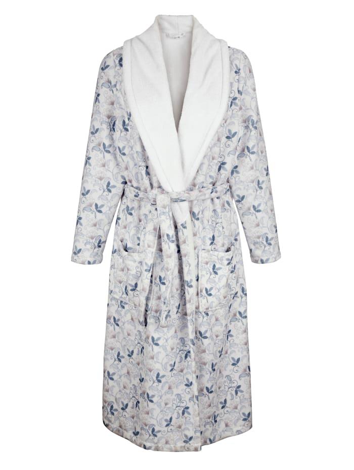 Harmony Bademantel mit praktischem Turban-Handtuch, Weiß/Blau/Altrosa