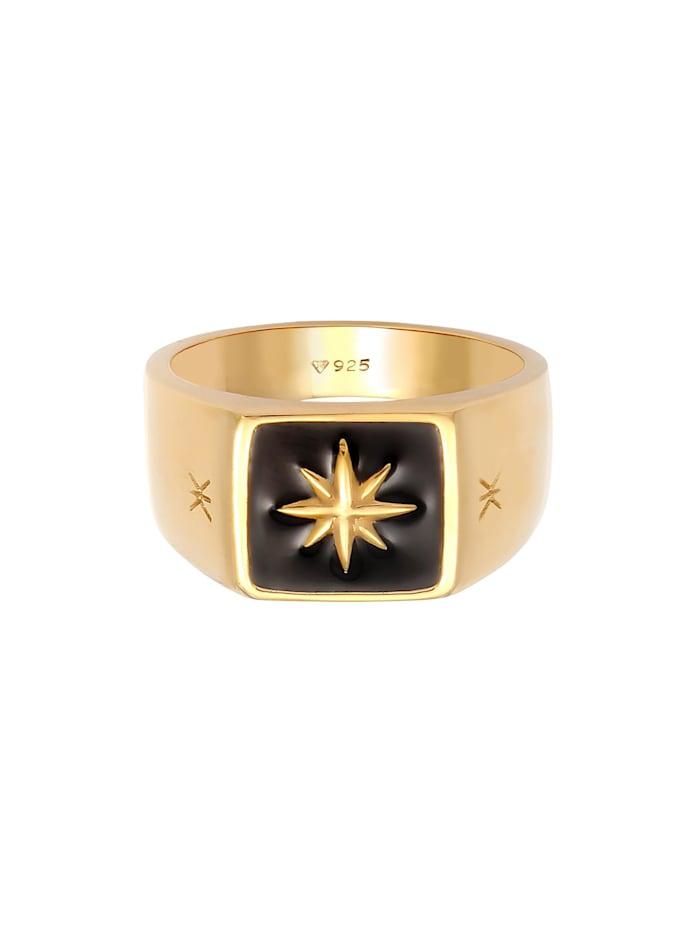 Ring Herren Siegelring Emaille Stern Basic 925 Silber