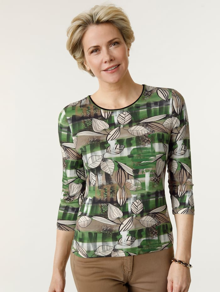 Barbara Lebek Shirt met een patronenmix, Groen/Cognac