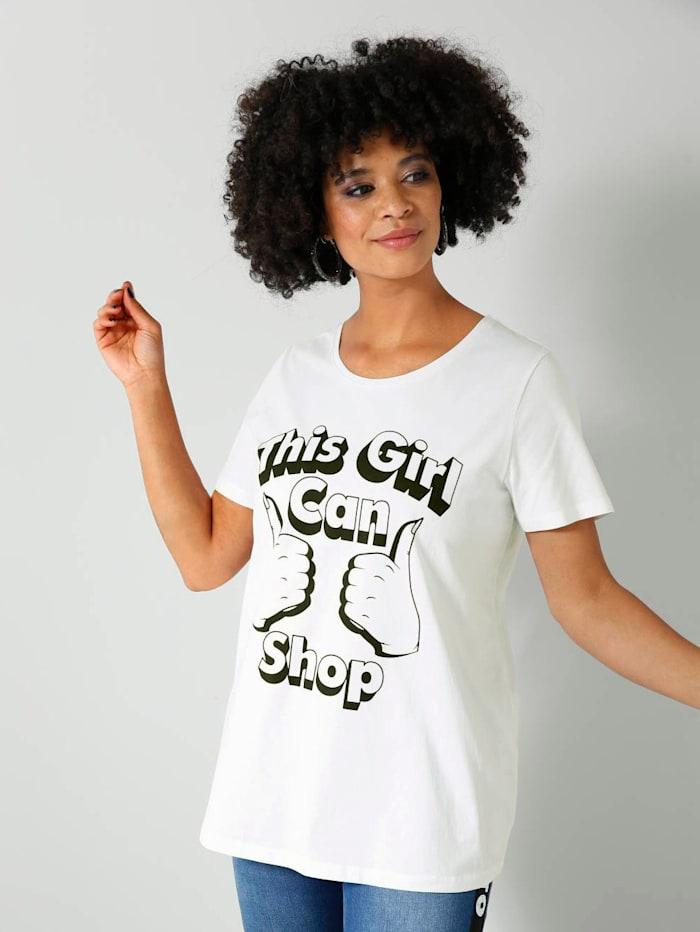 Angel of Style Shirt mit Printmotiv, Weiß/Schwarz