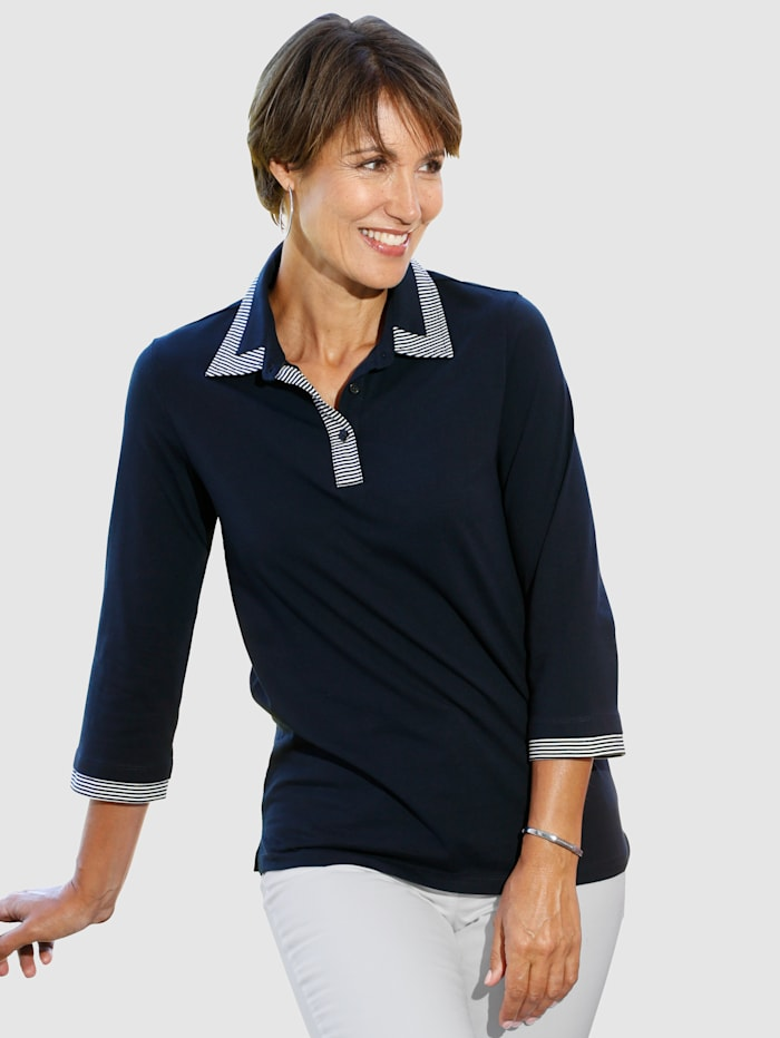 Paola Shirt in kontrastfarbener Verarbeitung, Marineblau