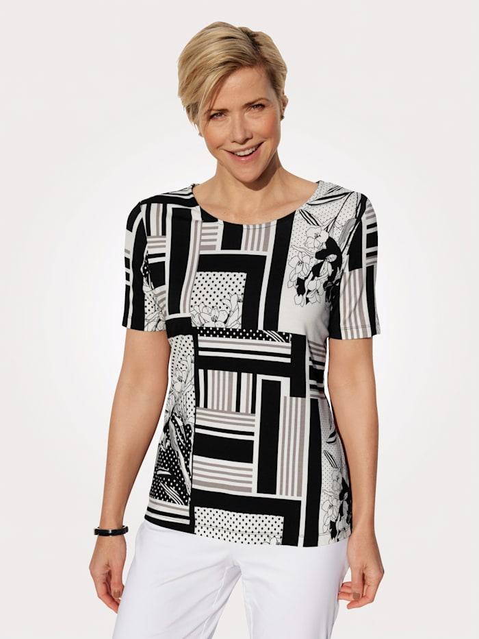 MONA Shirt met bloemen- en grafische patronenmix, Zwart/Wit