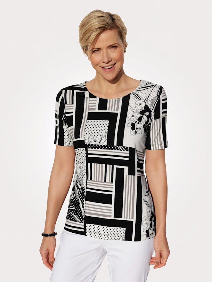 MONA Top in a mixed print, Black/White