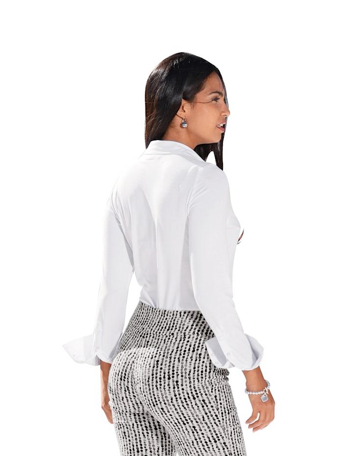 Blouse met voorkant van weefstof en achterkant & mouwen van elastische jersey