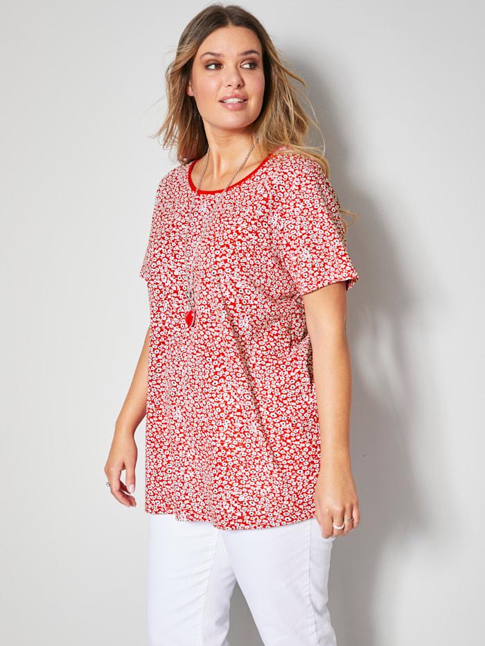 Janet & Joyce Shirt mit floralem Muster, Rot/Weiß