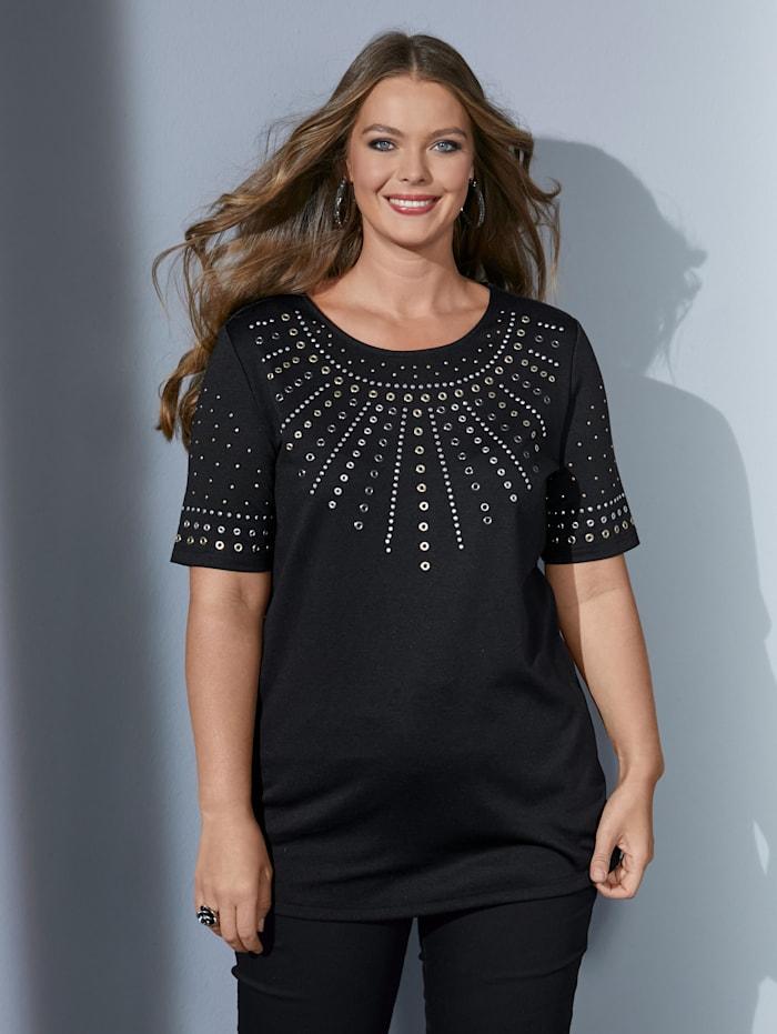 MIAMODA Shirt aufwändig verziert mit Dekosteinchen, Schwarz