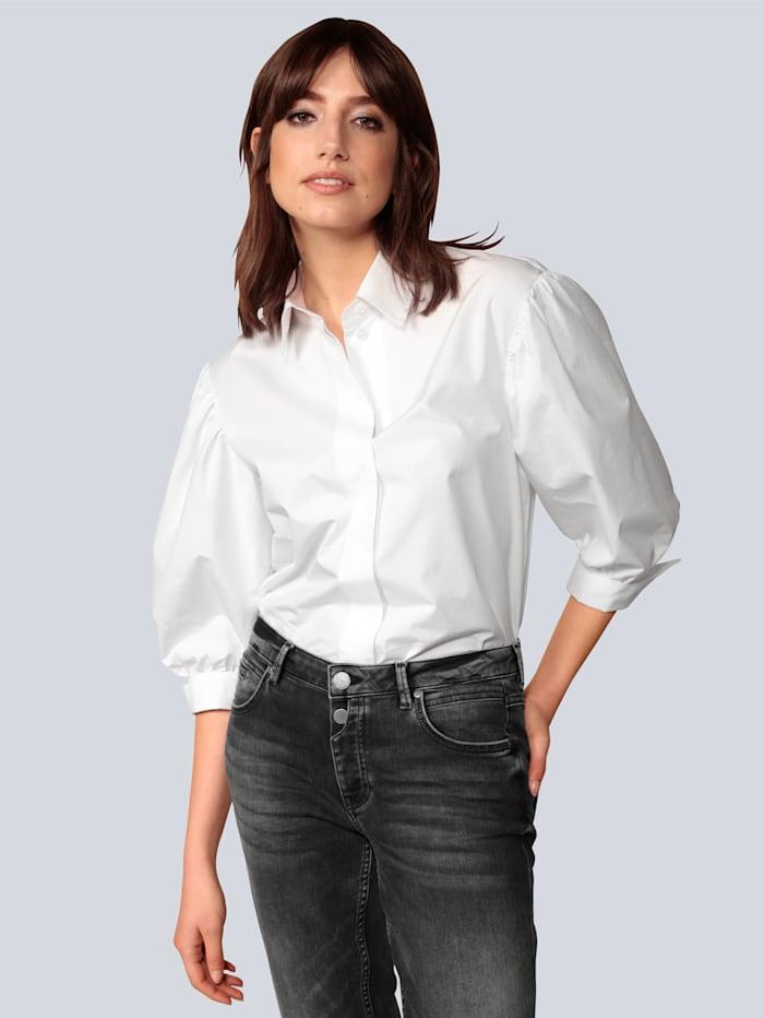 Seidensticker Schwarze Rose Bluse mit angekräuseltem Ärmel, Weiß