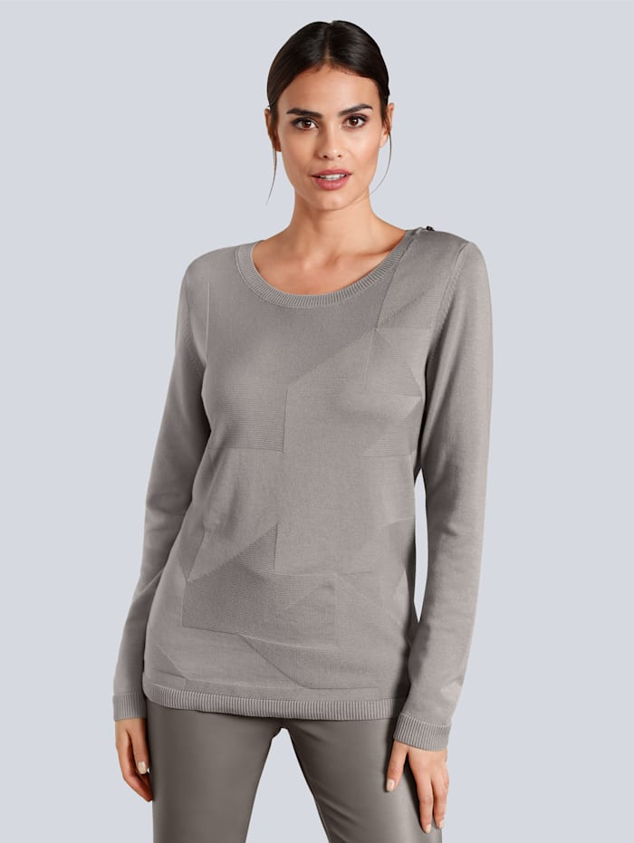 Alba Moda Pull-over en maille structurée, Taupe