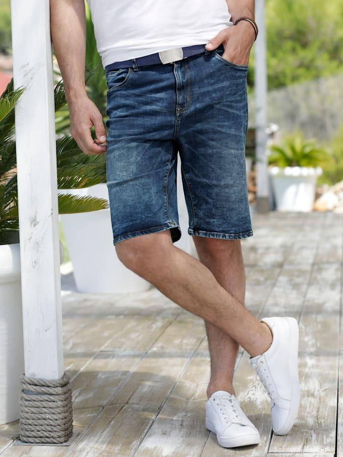 Jeansbermuda met modieuze washed effecten
