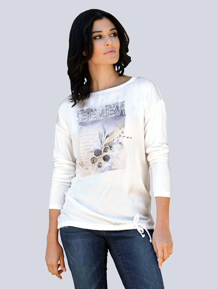 Alba Moda T-shirt à imprimé floral devant, Blanc cassé/Bleu
