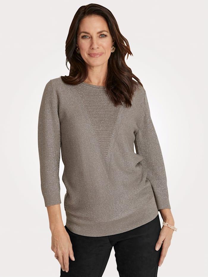 MONA Pullover mit schimmerndem Glanzgarn, Taupe
