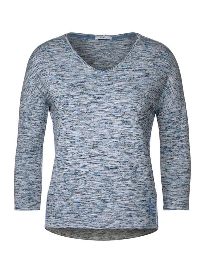 Cecil Shirt mit Melange-Optik, heather blue melange