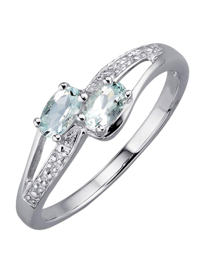 Damenring mit Aquamarinen und Diamanten, Blau