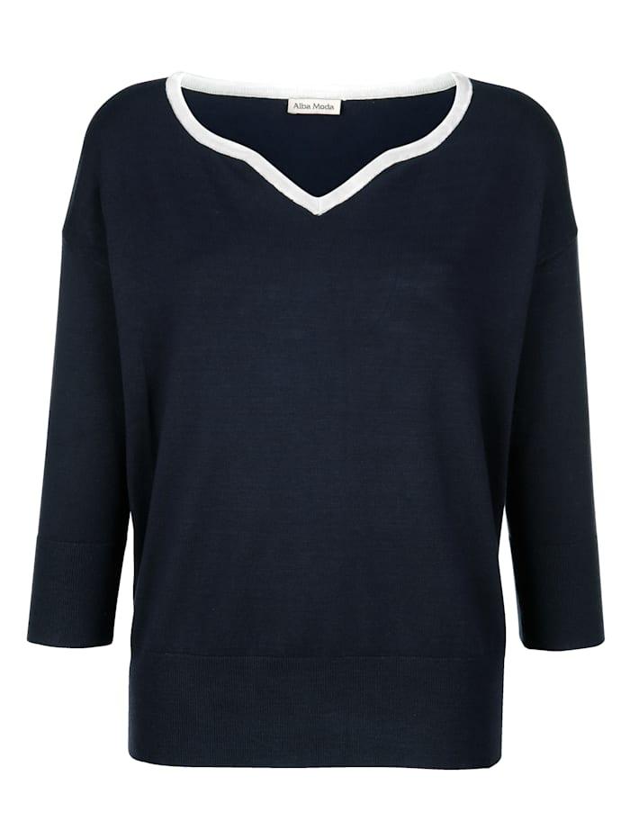Alba Moda Pullover dezent mit Glanzgarn am Ausschnitt, Marineblau/Silbergrau
