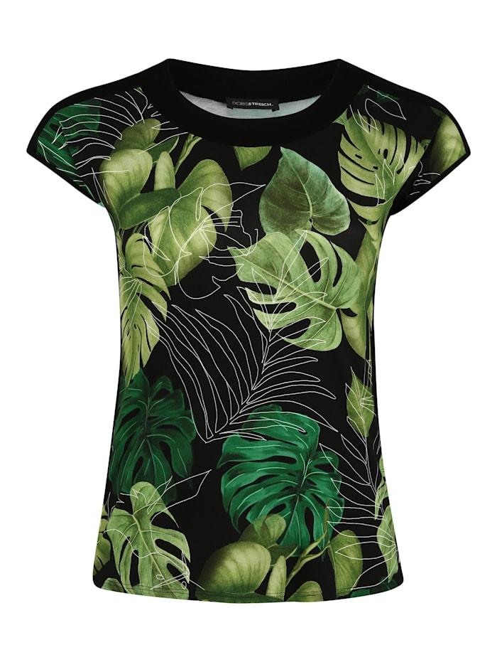 Doris Streich T-Shirt mit Blätter-Print Kontrastverarbeitung, kiwi