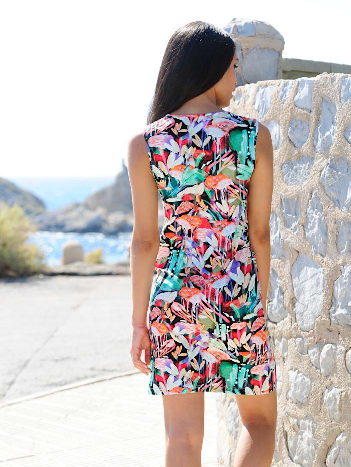 Kleid mit farbigen Steinen