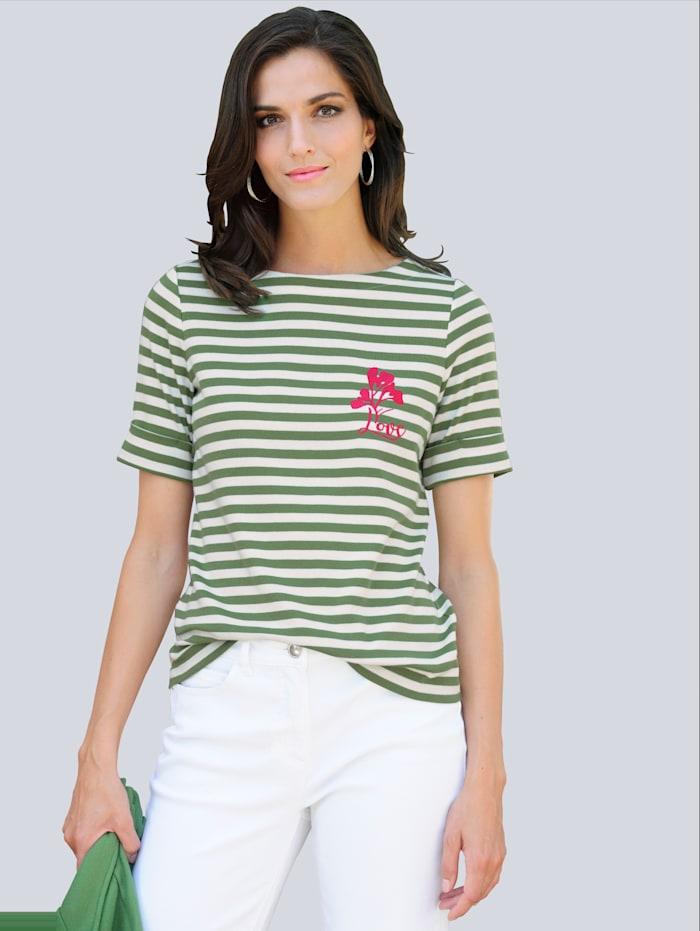 Alba Moda Shirt mit Stickerei, Grün/Ecru