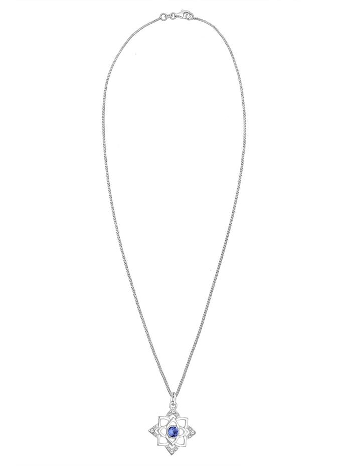 Halskette Geburtsstein Lotus Swarovski® Kristalle 925 Silber