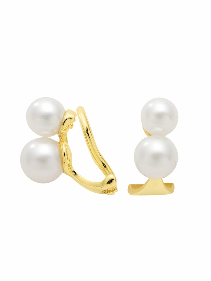 1001 Diamonds 1001 Diamonds Damen Goldschmuck 333 Gold Ohrringe / Ohrclips mit Süßwasser Zuchtperle, gold