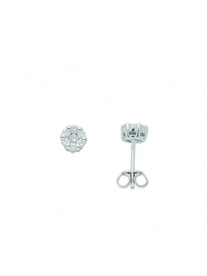 1001 Diamonds 1001 Diamonds Damen Silberschmuck 925 Silber Ohrringe / Ohrstecker mit Zirkonia Ø 5,5 mm, silber