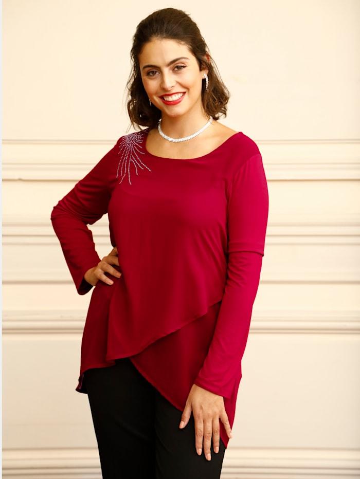 m. collection Shirt mit glitzernden Strasssteinen an der Schulter, Rot