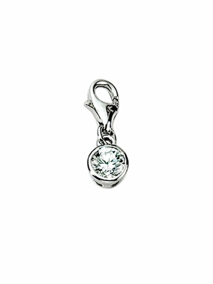 1001 Diamonds 1001 Diamonds Damen Silberschmuck 925 Silber Charms Anhänger Zarge mit Zirkonia, silber