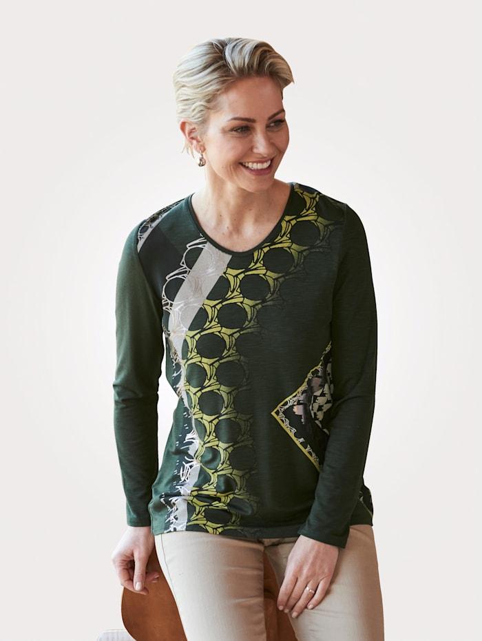 Barbara Lebek Shirt met print, Olijf/Ecru