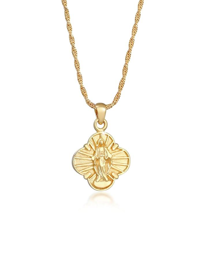 Elli Halskette Marienbild Glaube Vintage Look 925 Sterling Silber, Gold