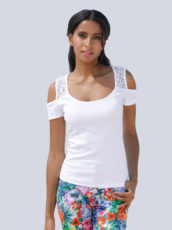 Alba Moda Top mit cut out an den Ärmeln, Weiß