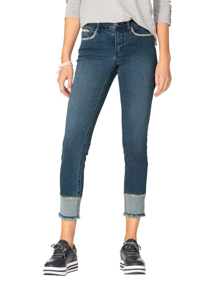 AMY VERMONT Jeans met sierborduursels, Blue stone