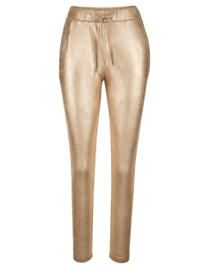 AMY VERMONT Hose mit Glanz-Effekt, Goldfarben