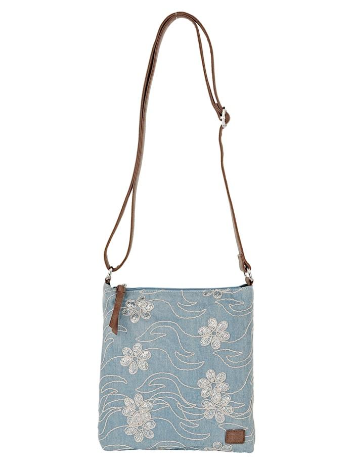 BERNARDO BOSSI Umhängetasche mit aufgestickten Blüten und Pailetten, Jeansblau