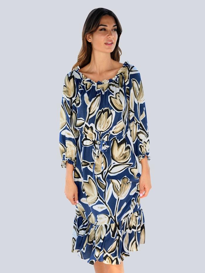 Alba Moda Strandkleid mit dekorativem Blumendruck, Blau