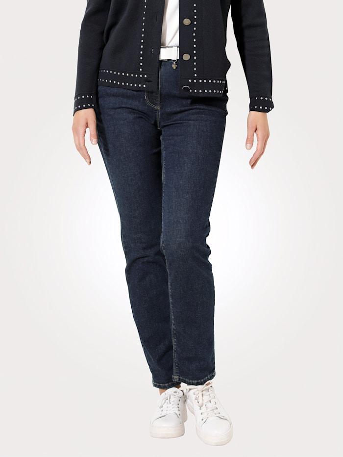 MONA Jeans mit dekorativem Glanzgarn, Dunkelblau