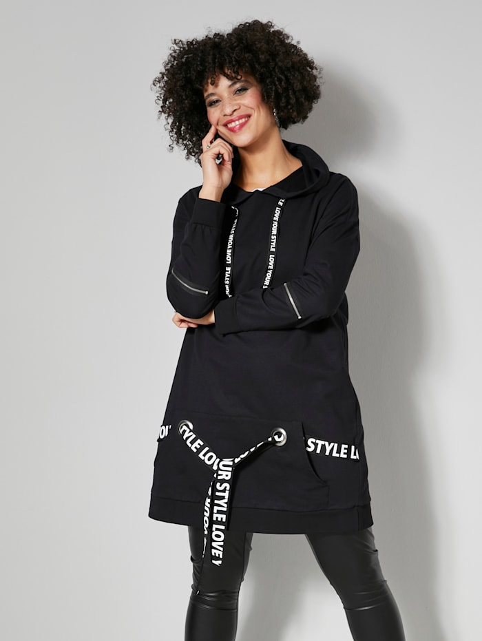 Angel of Style Long-Sweatshirt mit bedruckten Bändern, Schwarz