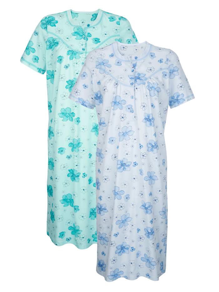 Harmony Nachthemden mit dekorativen Kontraststeppungen, Mintgrün/Hellblau