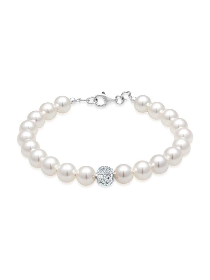 Elli Armband Perlen Swarovski Kristalle 925 Sterling Silber, Weiß